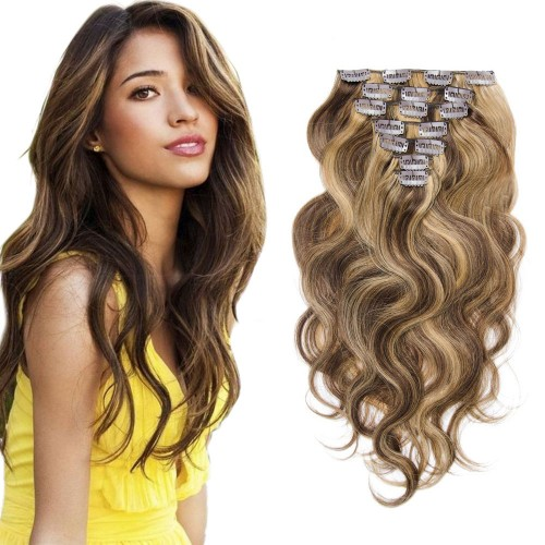 7pcs Body Wavy Clip In Remy Hair Extensions #4/27
