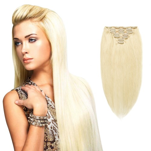 7pcs Straight Clip In Remy Hair Extensions #60 Platium Blonde