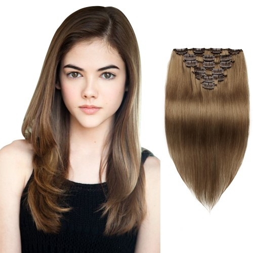 7pcs Straight Clip In Remy Hair Extensions #8 Light Brown