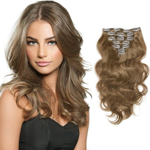 7pcs Body Wavy Clip In Remy Hair Extensions #8 Light Brown
