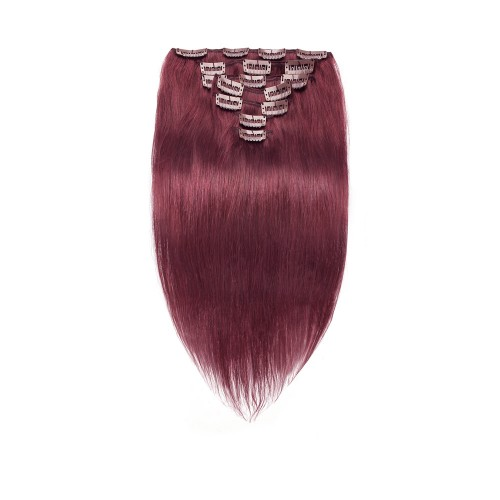 7pcs Straight Clip In Remy Hair Extensions #99J