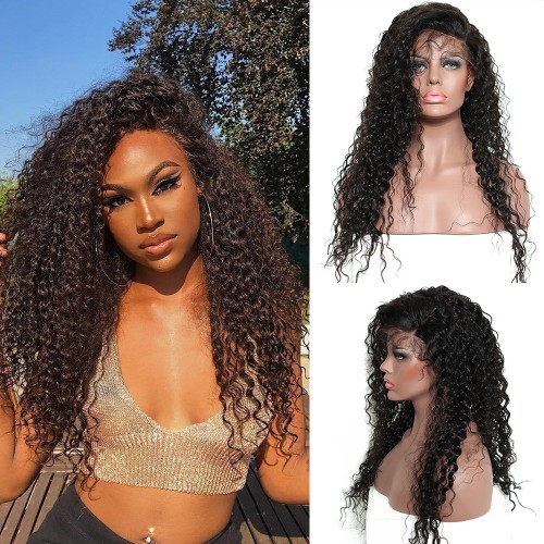 Pre-Plucked 250% Density Human Hair Deep Curly Lace Front Wigs