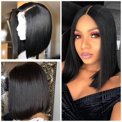 Natural Color Indian Hair Straight Front Lace Bob Wigs 49387554f