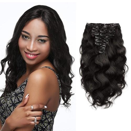 10pcs Body Wavy Virgin Brazilian Clip in Hair #1B Natural Black