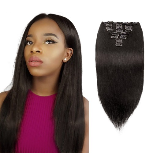 10pcs Straight Virgin Brazilian Clip in Hair #1B Natural Black