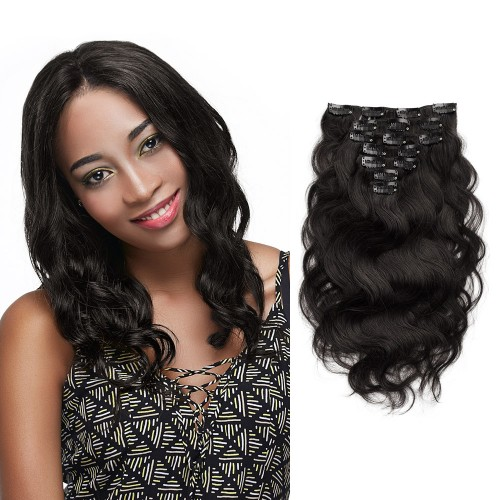 7pcs Body Wavy Virgin Brazilian Clip in Hair #1B Natural Black