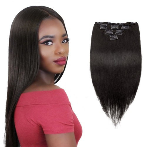 7pcs Straight Virgin Brazilian Clip in Hair #1B Natural Black