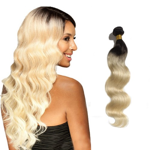 "16""-26"" Ombre Hair Extensions Indian Remy Human Hair Body Wavy Two Tone #1B/613 100g"