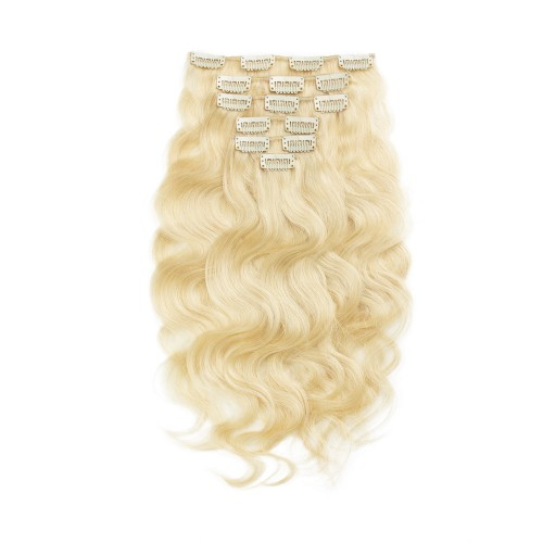 USA Stock 70g 16 Inch #613 Lightest Blonde Body Wavy Clip In Hair PC940