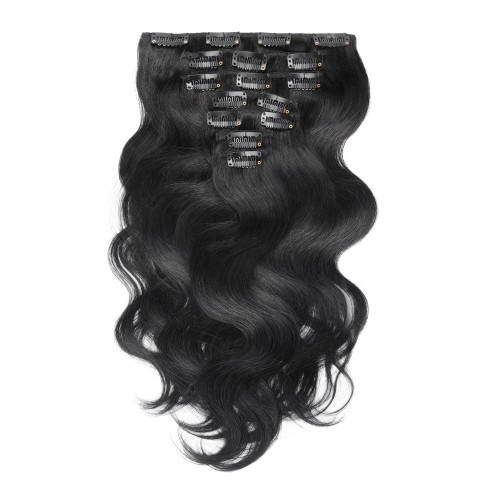 USA Stock 100g 18 Inch #1 Jet Black Body Wavy Clip In Hair PC945
