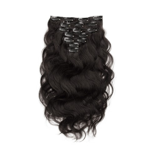USA Stock 100g 18 Inch #1B Natural Black Body Wavy Clip In Hair PC946