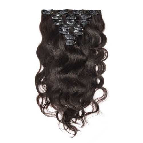 100g 18 Inch #2 Darkest Brown Body Wavy Clip In Hair PC947
