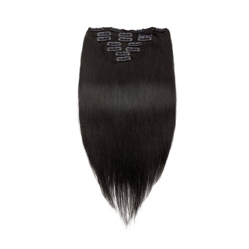 USA Stock 100g 18 Inch #1B Natural Black Straight Clip In Hair PC951