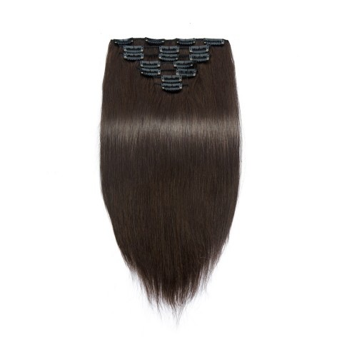 USA Stock 100g 18 Inch #2 Darkest Brown Straight Clip In Hair PC952