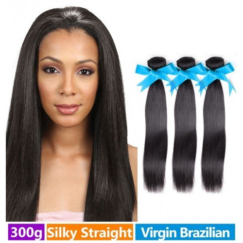 "RECHOO 10""-30"" 3 Bundles Straight Brazilian Virgin Hair 300g"