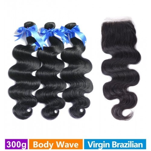 RECHOO 3 Bundles Brazilian Virgin Hair 300g With 4*4 Free Part Closure Body Wavy