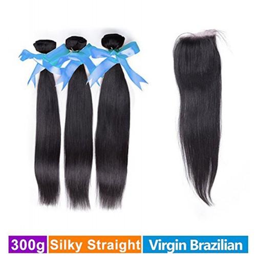 RECHOO 3 Bundles Brazilian Virgin Hair 300g With 4*4 Free Part Closure Straight