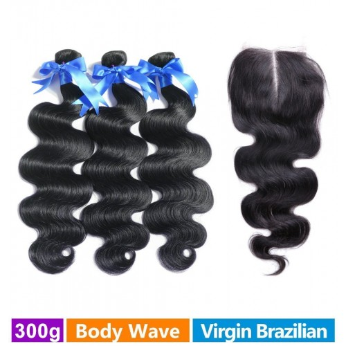 RECHOO 3 Bundles Brazilian Virgin Hair 300g With 4*4 Middle Part Closure Body Wavy