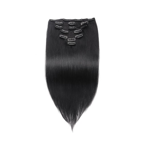 100g 18 Inch #1 Jet Black Straight Clip In Hair