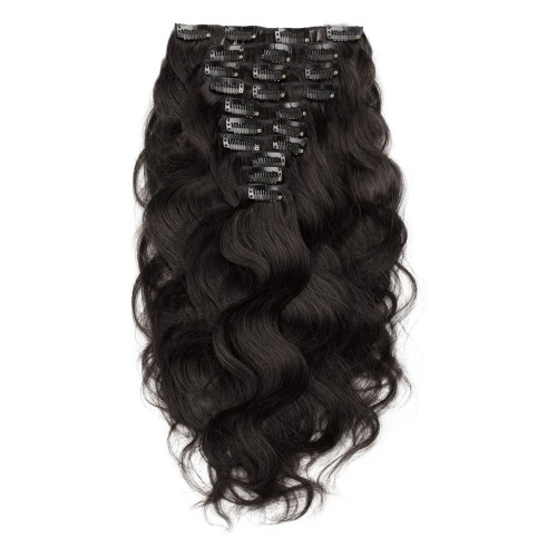 200g 22 Inch #1B Natural Black Body Wavy Clip In Hair