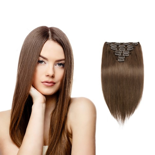 100g 18 Inch #4 Chocolate Brown Straight Clip In Hair