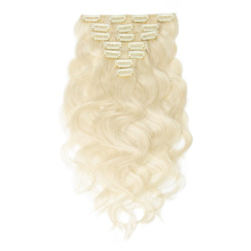 100g 18 Inch #60 Platium Blonde Body Wavy Clip In Hair