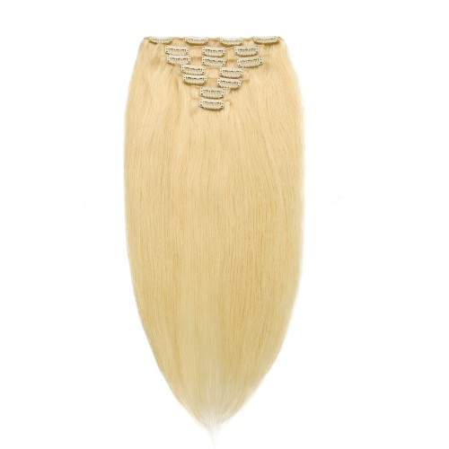 100g 18 Inch #613 Lightest Blonde Straight Clip In Hair