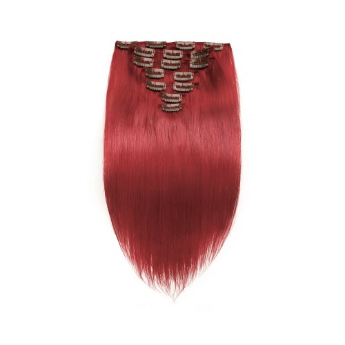 100g 18 Inch Red Straight Clip In Hair