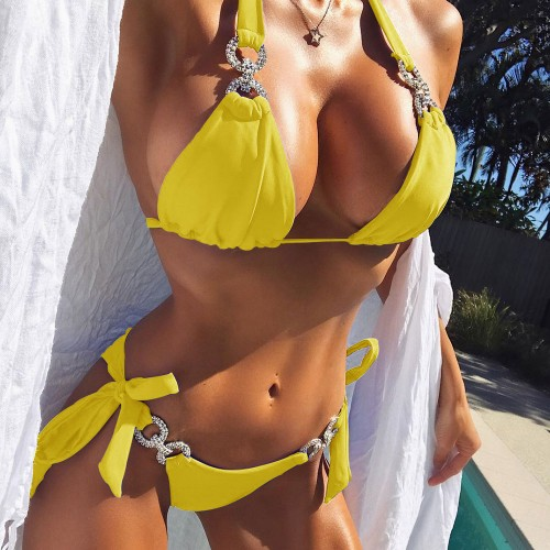 Sexy String Bikini Set SW1002 - Sun Yellow L