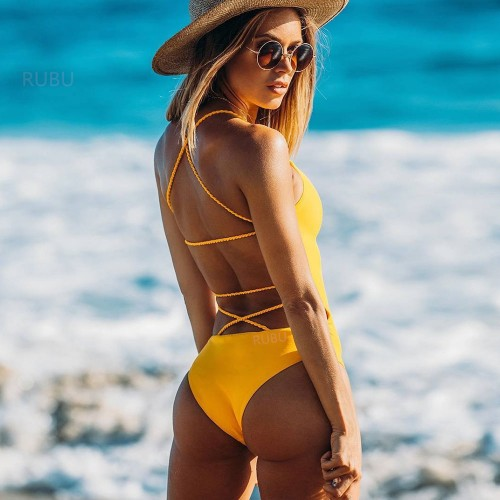 Backless High Waisted One Piece Swimwear SW1101 - Yellow L