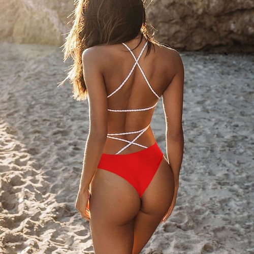 Backless High Waisted One Piece Swimwear SW1103 - Red L