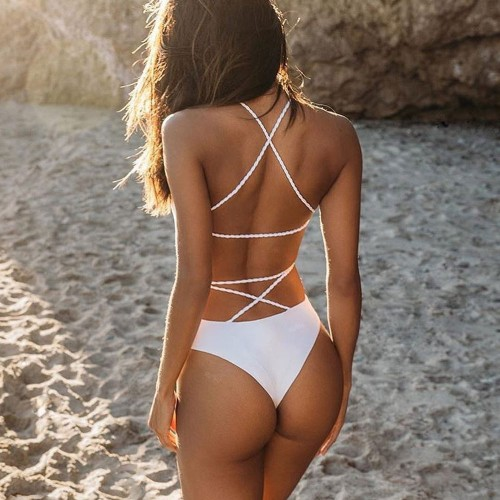 Backless High Waisted One Piece Swimwear SW1104 - White L