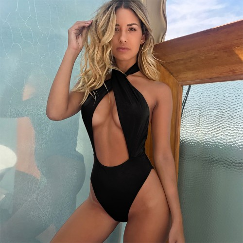 Halter Cutout Sexy Swimsuit SW1301 - Black L