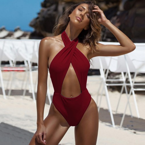 Halter Cutout Sexy Swimsuit SW1303 - Wine Red L