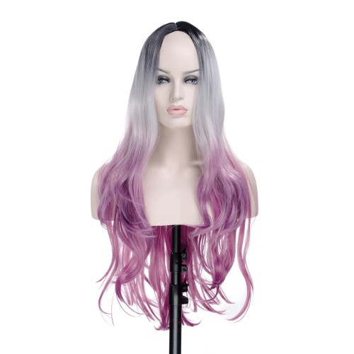 Synthetic Hair Machine Made Wig High Temperature Fiber Curly #Black/Grey/Rose