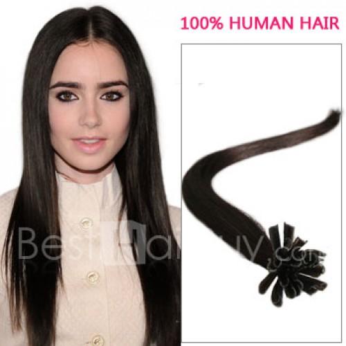 100s 1g/s Straight Nail/U Tip Remy Hair Extensions #2 Darkest Brown