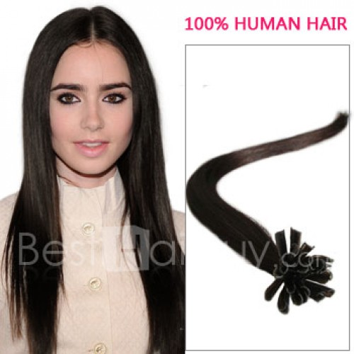 100s 0.5g/s Straight Nail/U Tip Remy Hair Extensions #2 Darkest Brown