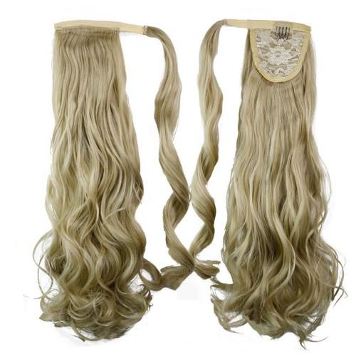 "22"" 120g #24/613 Synthetic Hair Long Wavy Clip In Ribbon Ponytail"