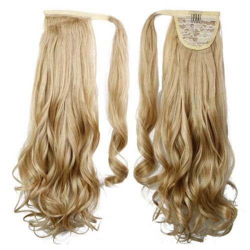 "22"" 120g #27/613 Synthetic Hair Long Wavy Clip In Ribbon Ponytail"