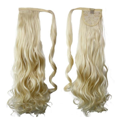 "22"" 120g #613 Synthetic Hair Long Wavy Clip In Ribbon Ponytail"