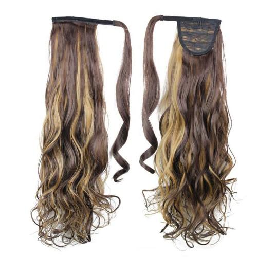 "22"" 120g #4H27 Synthetic Hair Long Wavy Clip In Ribbon Ponytail"