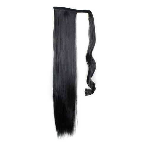 """24"""" 190g #1B Synthetic Hair Straight Clip In Ribbon Ponytail"""