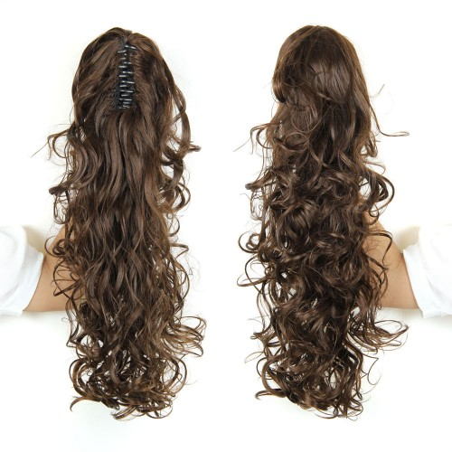 """22"""" 160g #6K Long Claw Clip Drawstring Curly Synthetic Ponytail"""