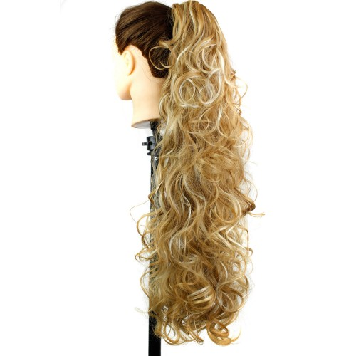 "22"" 160g #27M613 Long Claw Clip Drawstring Curly Synthetic Ponytail"