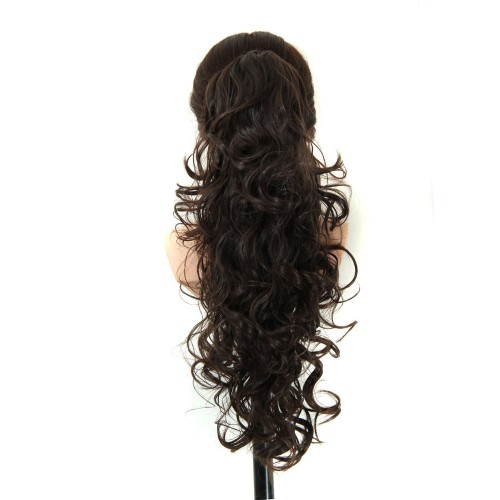 """22"""" 160g #4 Long Claw Clip Drawstring Curly Synthetic Ponytail"""