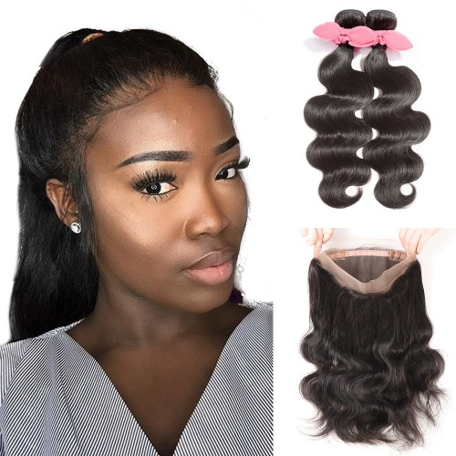 USA Stock 360 Lace Frontal Band with 2 Bundles Body Wavy 7A Brazilian Virgin Hair
