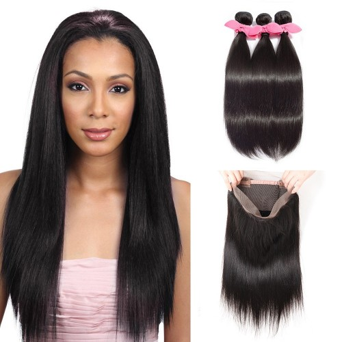 USA Stock 360 Lace Frontal Band with 3 Bundles Straight 8A Brazilian Virgin Hair