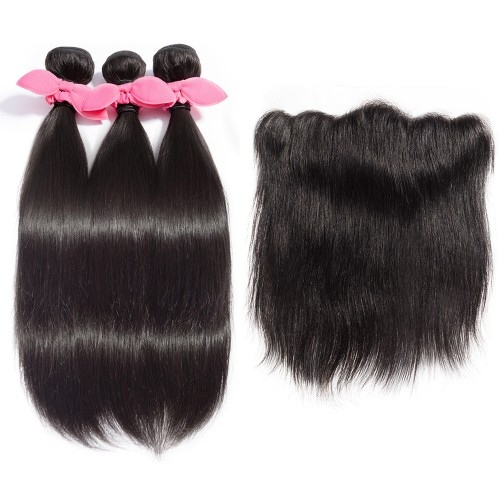 USA Stock 3 Bundles Straight Brazilian Virgin Hair 300g With 13*4 Straight Free Part Lace Frontal
