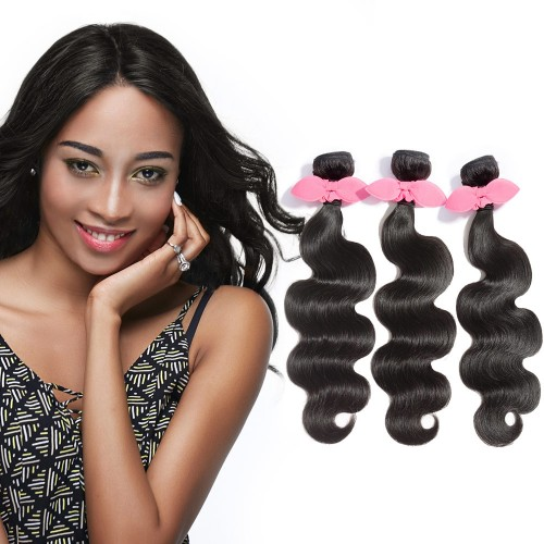 "USA Stock 10""-30"" 3 Bundles Body Wavy Virgin Brazilian Hair Natural Black 300g"