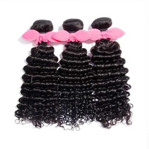 "USA Stock 10""-30"" 3 Bundles Deep Curly Virgin Brazilian Hair Natural Black 300g"